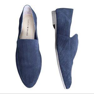 Lucky Brand Brogan Blue Herringbone Loafers Size 10